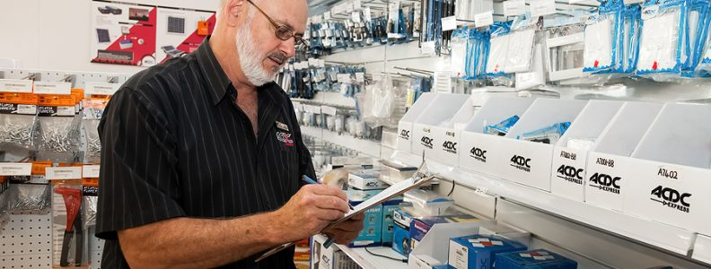 Electrical wholesaler doing an inventory