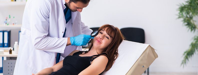 Woman getting a check up in a trusted skin clinic in Melbourne