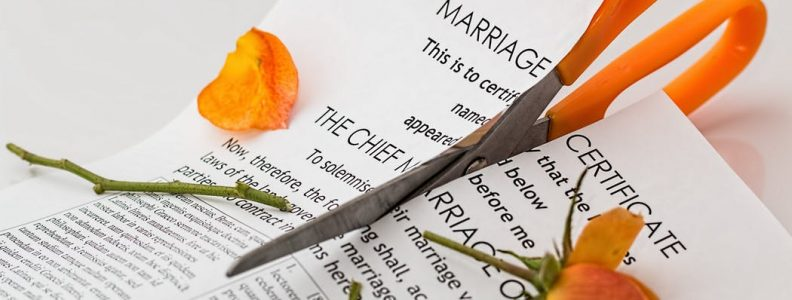 Marriage certificate cut into two
